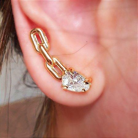 Brinco Earcuff Chain Cristal Gold