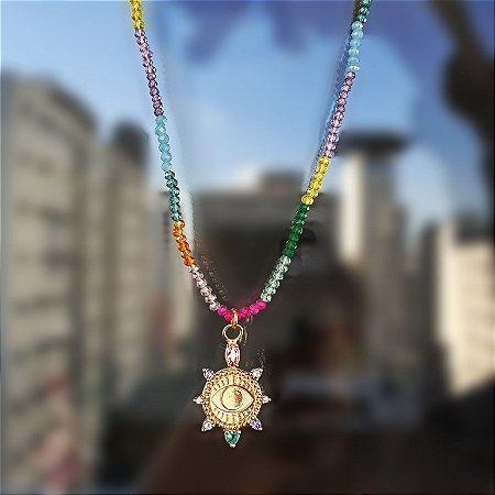 Colar Safiras coloridas x Pingente olho grego Ouro Mikonos