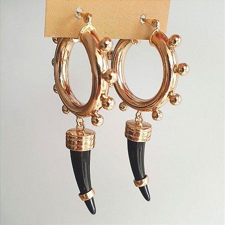 Brinco Argola Dentes Ônix Gold Mikonos