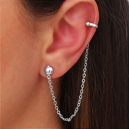 Brinco Piercing Chain Silver Mikonos
