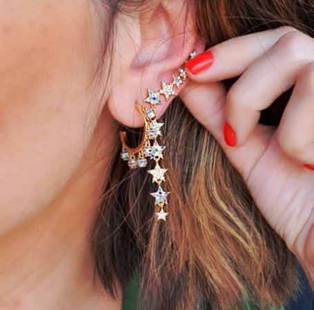 Brinco Earcuff Star Colors Gold Mikonos