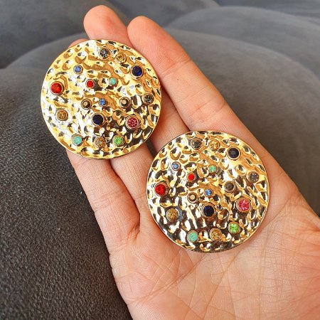 Brinco Chapa Colors Gold Mikonos