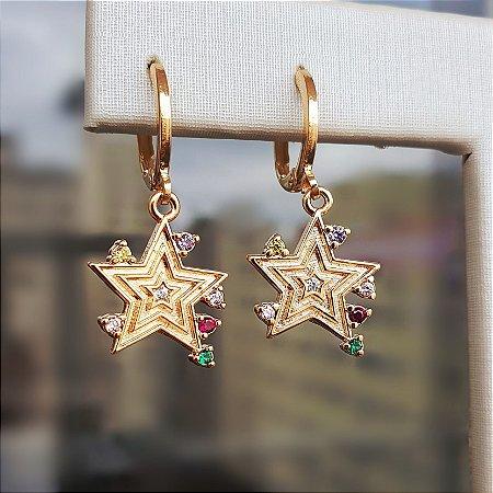 Brinco Star Colors Gold Mikonos