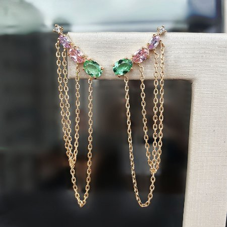 Brinco Earcuff Colors Chain mikonos