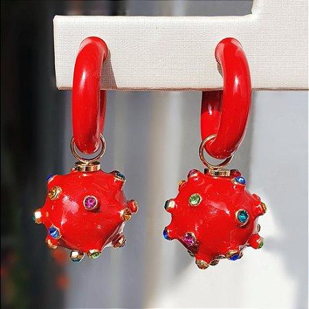 Brinco Argola Balls Esmaltado Red Mikonos