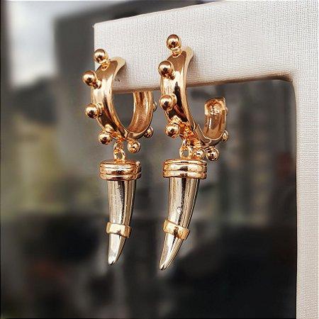 Brinco Argola Dentes Gold x Silver Mikonos