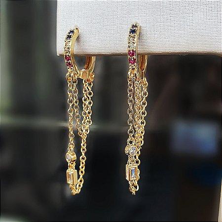 Brinco Argolinha Correntes Gold