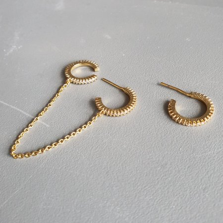 Brinco Piercing corrente gold