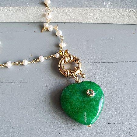 Colar coração esmeralda natural
