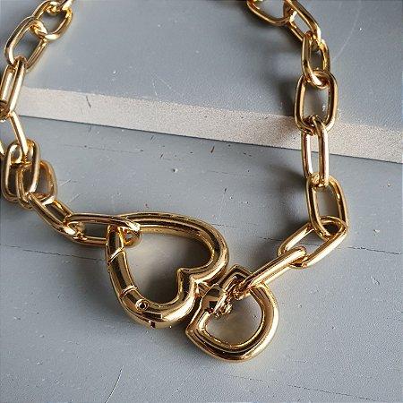 Colar Mosquetão coração Gold Mistic