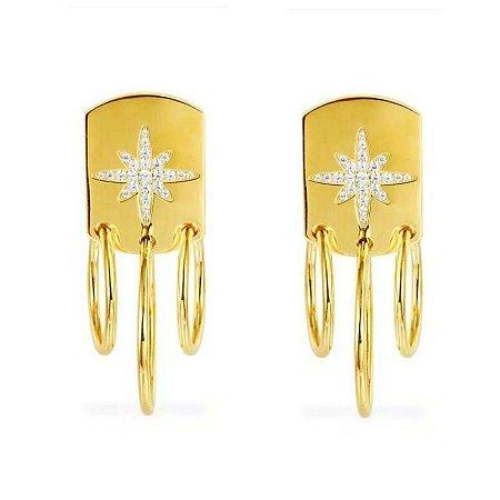 Brinco star argolas gold