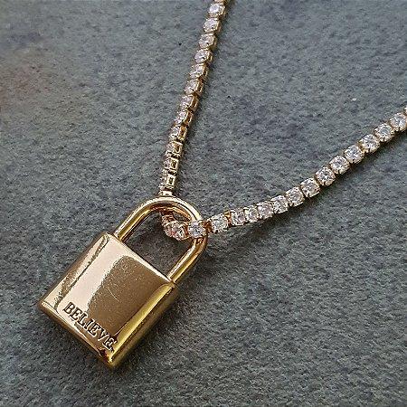 Colar Cadeado Believe Gold Mistic