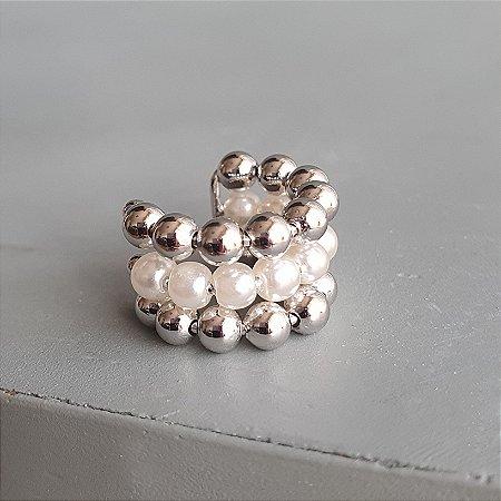 Piercing Triplo Pérola x Balls Silver