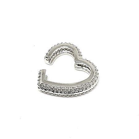 Piercing Coração Total cravejado Silver Mistic