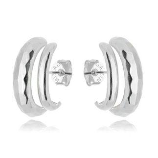 Brinco Earhook Dupla Textura Silver Mistic