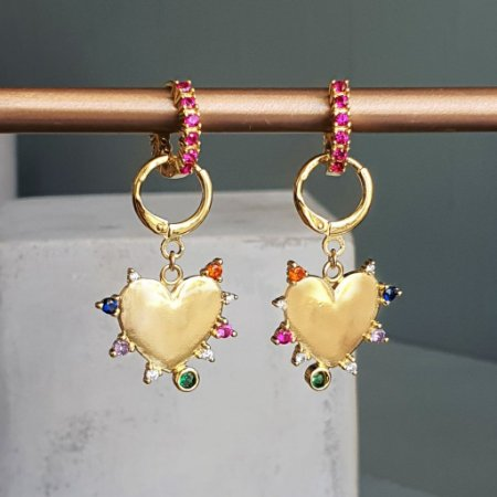 Brinco Argola Pink Coração Colors Gold Mikonos