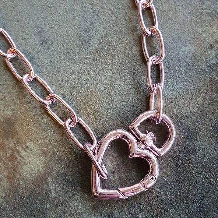 Colar Mosquetão coração Pink Mistic