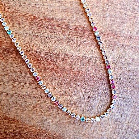 Colar Riviera Rainbow Candy Gold Mistic
