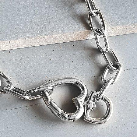 Colar Mosquetão coração Silver Mistic