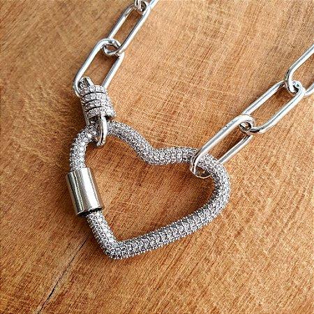 Colar Coração Mosquete 360° Cravejado Silver Mistic