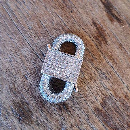 Pingente Locker Cravejado Silver