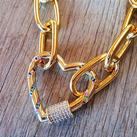 Colar Coração Mosquete Cravejado Rainbow Gold Mistic