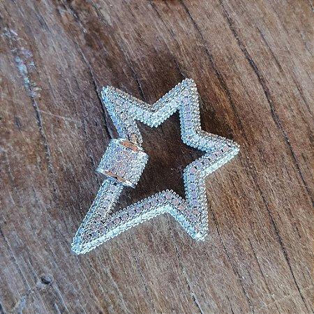 Pingente Mosquetão Star 360° Cravejado Silver Mistic
