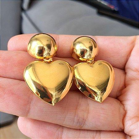 Brinco Ball x Coração Gold