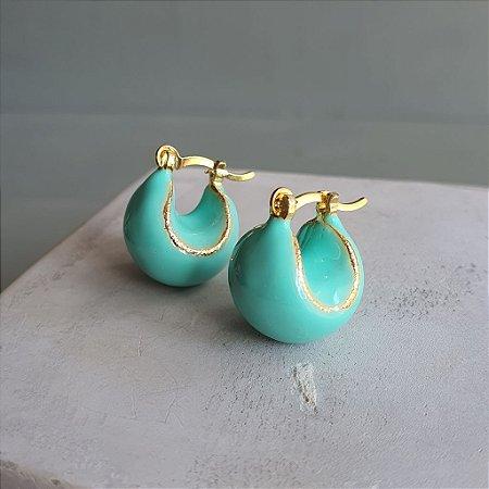 Brinco Argola Ball Esmaltado Verde Tiffany