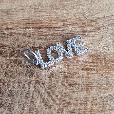Pingente Love Cravejado Silver