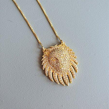Colar Lion Monac Cravejado Gold