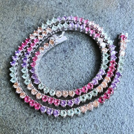 Colar Riviera 40cm 3pontas Candy Rainbow