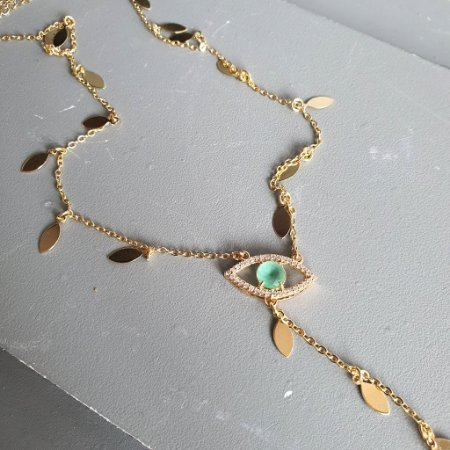 Colar Gravata olho grego esmeralda gold