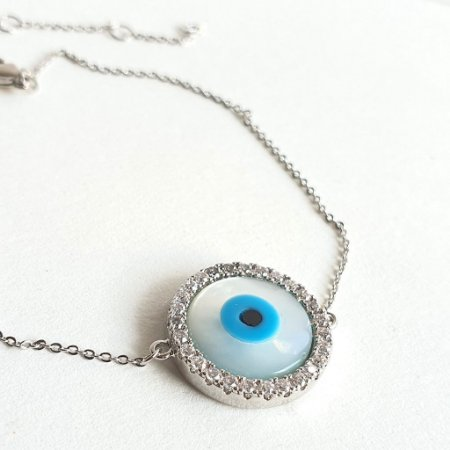 Pulseira Olho Grego Cravejado Silver