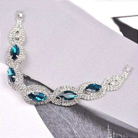 Luxo Pulseiras de Cristal Para As Mulheres de cor Prata Azul Zircon Pulseiras & Bangles