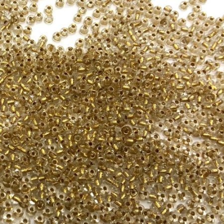 Miçanga Transparente Cristal Fio Ouro 68106 - Preciosa