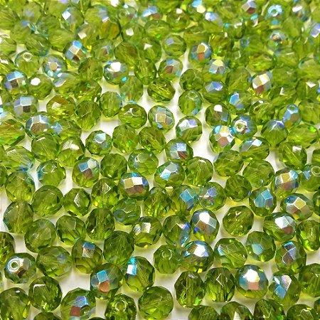 Conta Facetada Verde Olivine/AB 50230