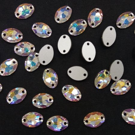 Oval 2 furos Cristal/AB - Preciosa