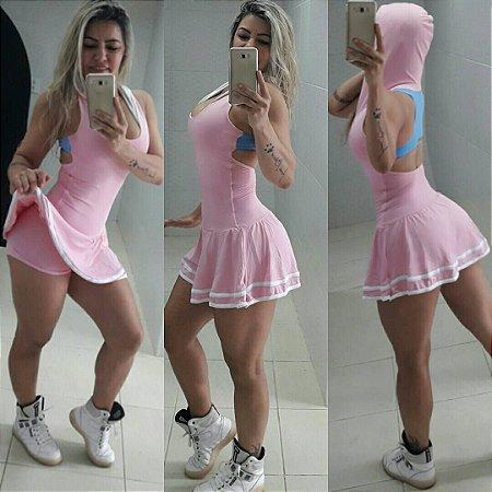Vestido com Capuz Rosa Bebê