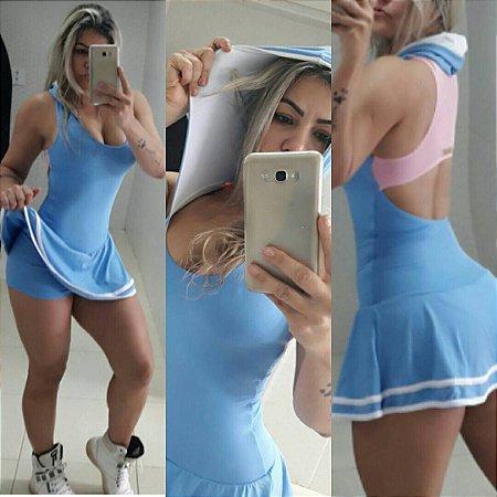 Vestido Com capuz Azul Bebê
