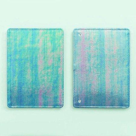 Capa E Contracapa Caderno Inteligente Azul Holográfico Grande