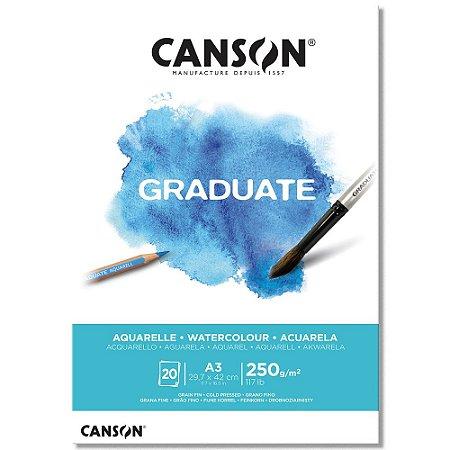 Bloco Canson Graduate Aquarelle A3 250g/m² com 20 Folhas