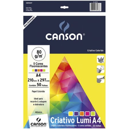 Pacote Papel Criativo Lumi 5 Cores Flourescentes A4 50fls 80g