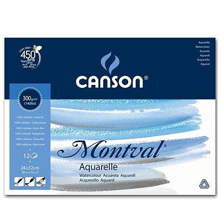 Bloco Montval Papel Aquarela Textura Fina 24x32 300g