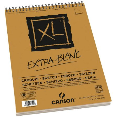 Bloco Papel Canson XL Extra Blanc A3 120fls 90g