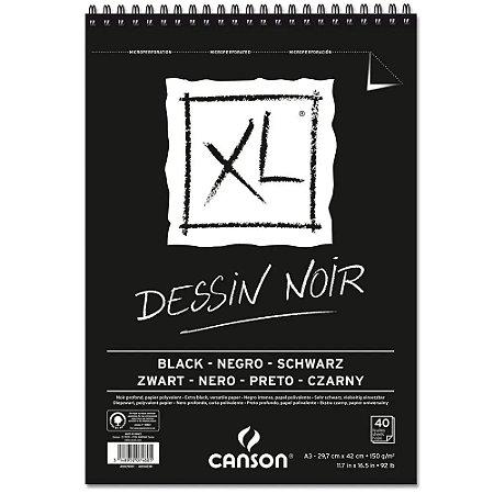 Bloco Papel Canson XL Dessin Noir 40fls A3 150g