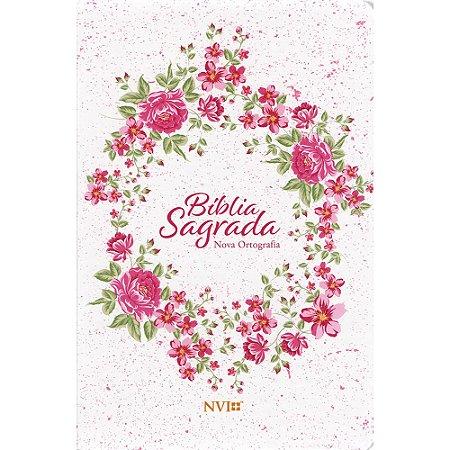 Bíblia Sagrada NVI Grande - Capa Semiluxo Rosa Floral