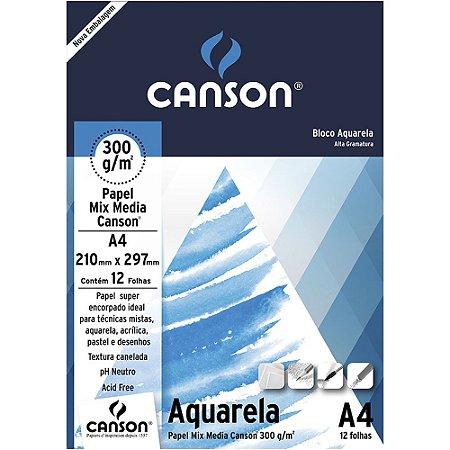 Bloco Papel Aquarela Mix Media 12fls A4 300g
