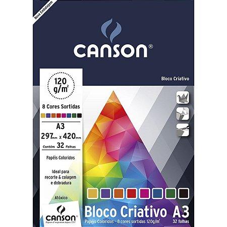 Bloco Papel Criativo Cards 8 Cores A3 32fls 120g