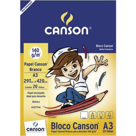 Bloco Papel Canson Desenho Branco Infantil A3 20fls 140g